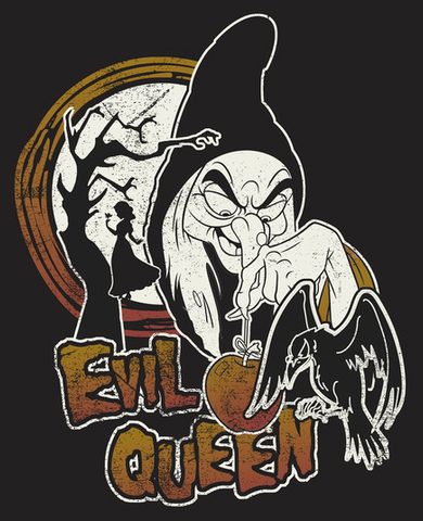 """Classic look of the evil queen from Snow White with an apple in her hand with the words """"evil queen"""""""