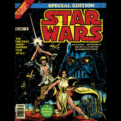 Luke, Leia, and Darth Vader are the central figures on the cover of the 1977 Star Wars Special Edition comic book