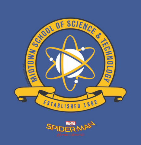 "Peter Parker's prestigious high school's crest is encircled by ""Midtown School of Science & Technology Established 1962"" in yellow"