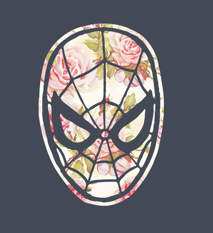 Spider-Man's mask in a pink and green floral print