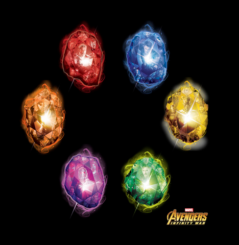 """All six of the infinity stones are printed in bright colors with """"Avengers: Infinity War"""" logo printed at bottom right"""