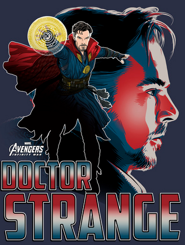 Doctor Strange is throwing a protective shield in front of an image of his face with his name underneath