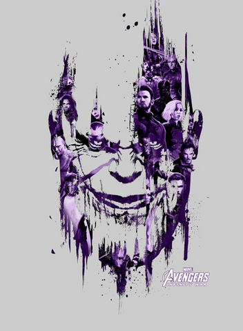 Thanos is printed in a cool purple streak style, with the Avengers characters decorating the graphic to make the outline of his face