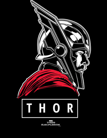 """A white and red print of Thor shows the hero in a classic profile with """"Thor"""" below"""