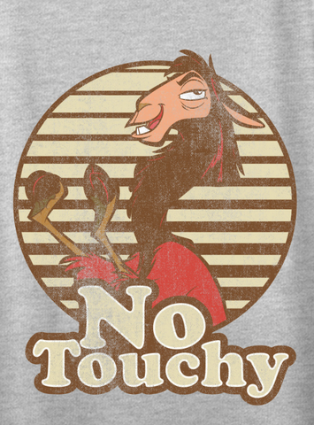 "Llama Kuzco is portrayed in distressed text alongside ""No Touchy"""