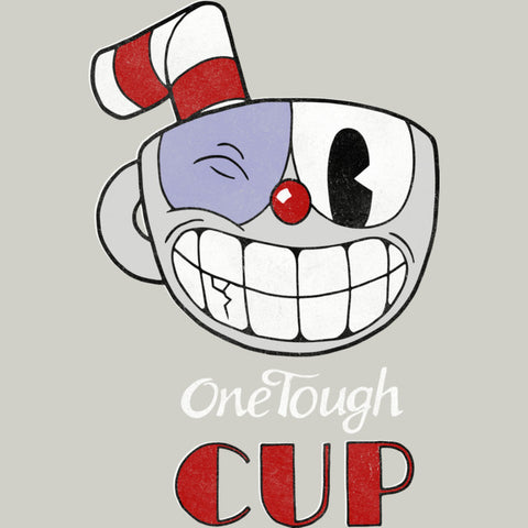 """Face of Cuphead with a wink and the text, """"OneTough Cup"""" below"""
