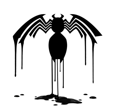 freshly painted venom logo dripping ink off its body