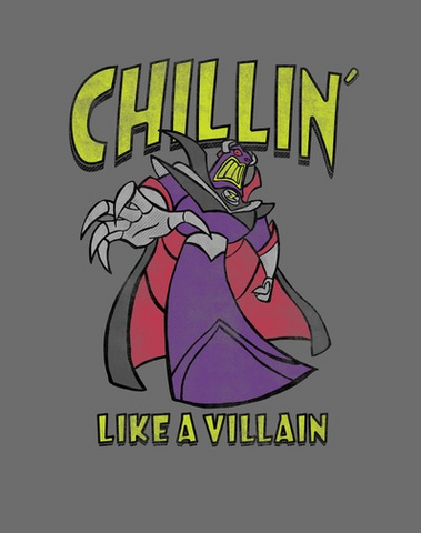"""A distressed print on the front of gray background reads """"Chillin' Like a Villain"""" around Buzz Lightyear's archenemy Emperor Zurg"""