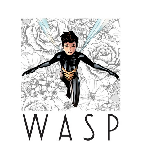 "Van Dyne, or Wasp, is portrayed on a light gray background with her iconic wings flying over a backdrop of flowers with ""Wasp"" printed in thin black lettering below her"