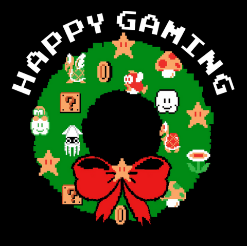 "Pixelated wreath with red bow and Nintendo décor with the text, ""happy gaming"""