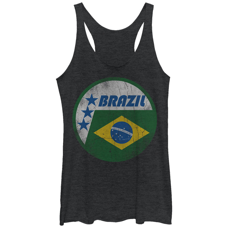 Lost Gods Brazil Flag Circle Womens Graphic Racerback Tank
