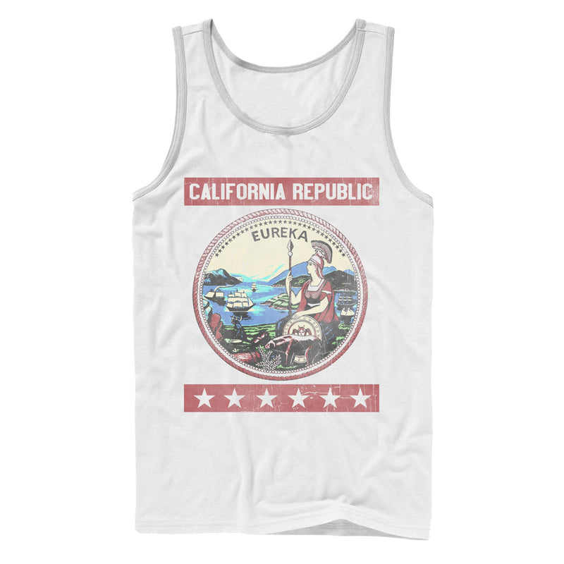 Lost Gods Men's California Republic Seal  Tank Top  White  L