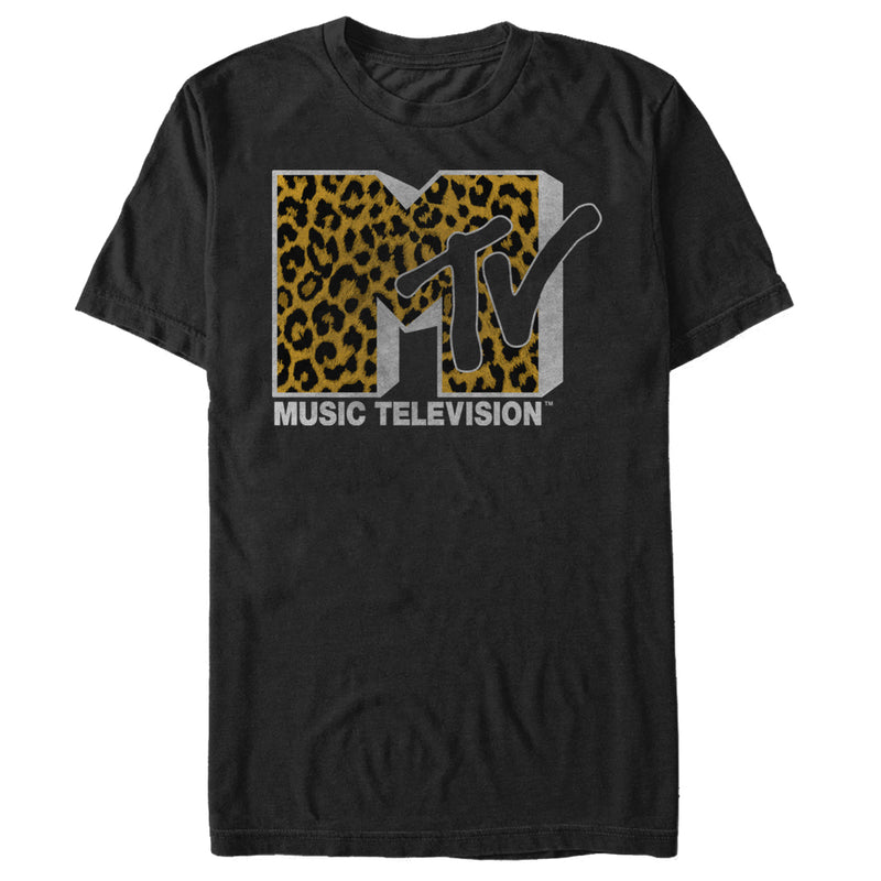 MTV Men's Cheetah Print Logo  T-Shirt  Black  L