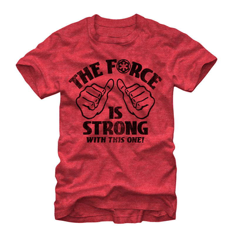 Star Wars Men's The Force is Strong  T-Shirt  Red Heather  S
