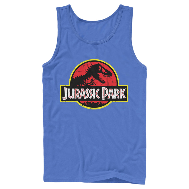 Jurassic Park Men's T Rex Logo  Tank Top  Royal Blue  M