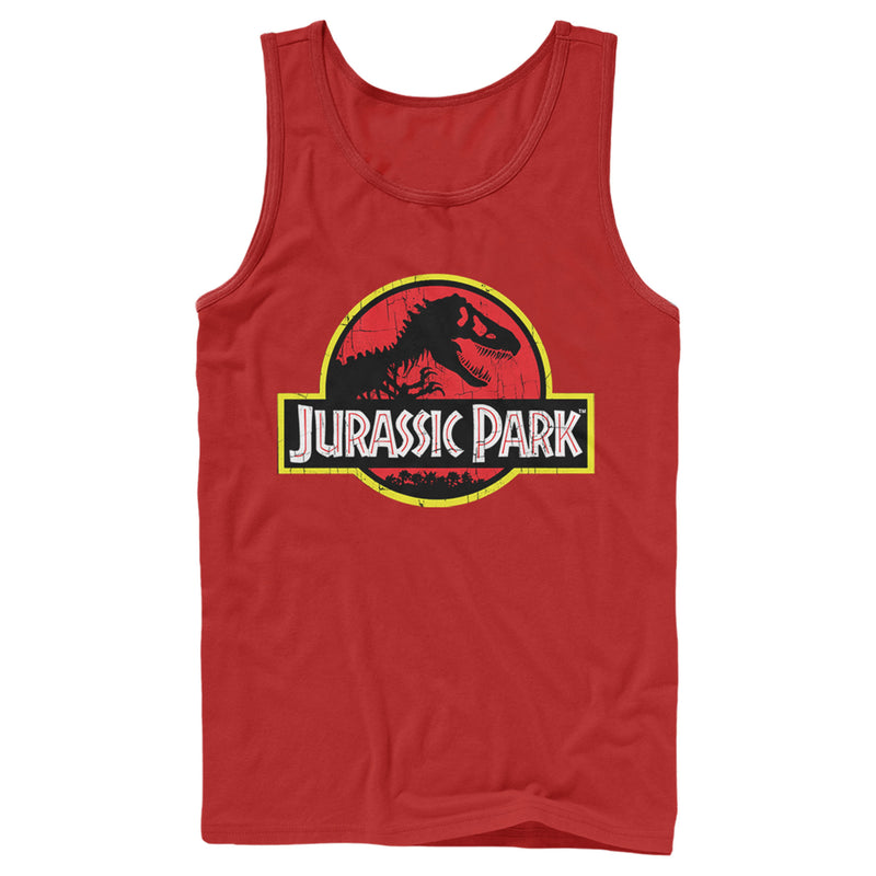 Jurassic Park Men's T Rex Logo  Tank Top  Red  L