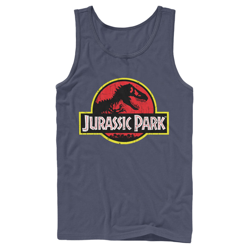 Jurassic Park Men's T Rex Logo  Tank Top  Navy Blue  M