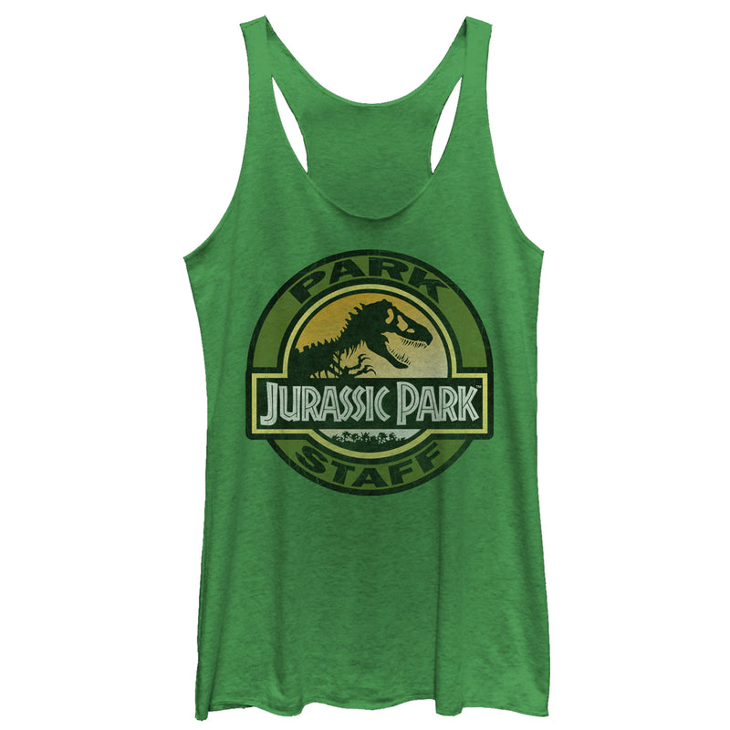 Jurassic Park Women's Staff Badge  Racerback Tank Top  Envy Green  L