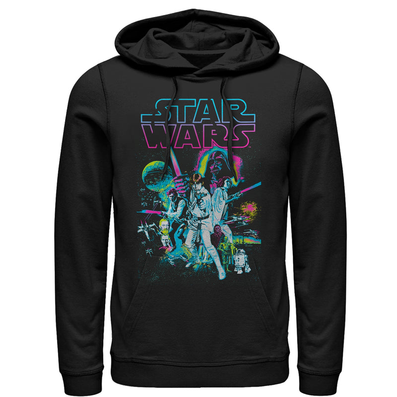 Star Wars Men's Neon Collage  Pull Over Hoodie  Black  L