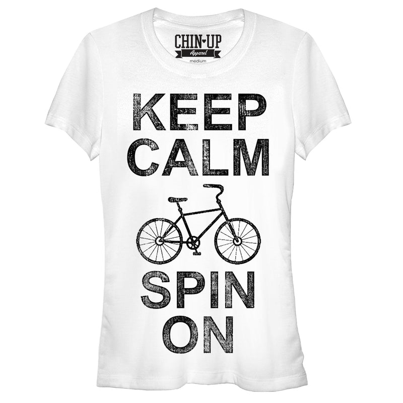 CHIN UP Junior's Keep Calm Spin On  T-Shirt  White  L