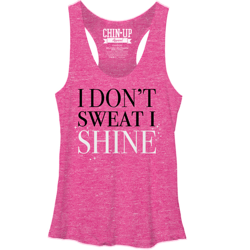CHIN UP Women's I Don't Sweat I Shine  Racerback Tank Top  Pink Heather  L