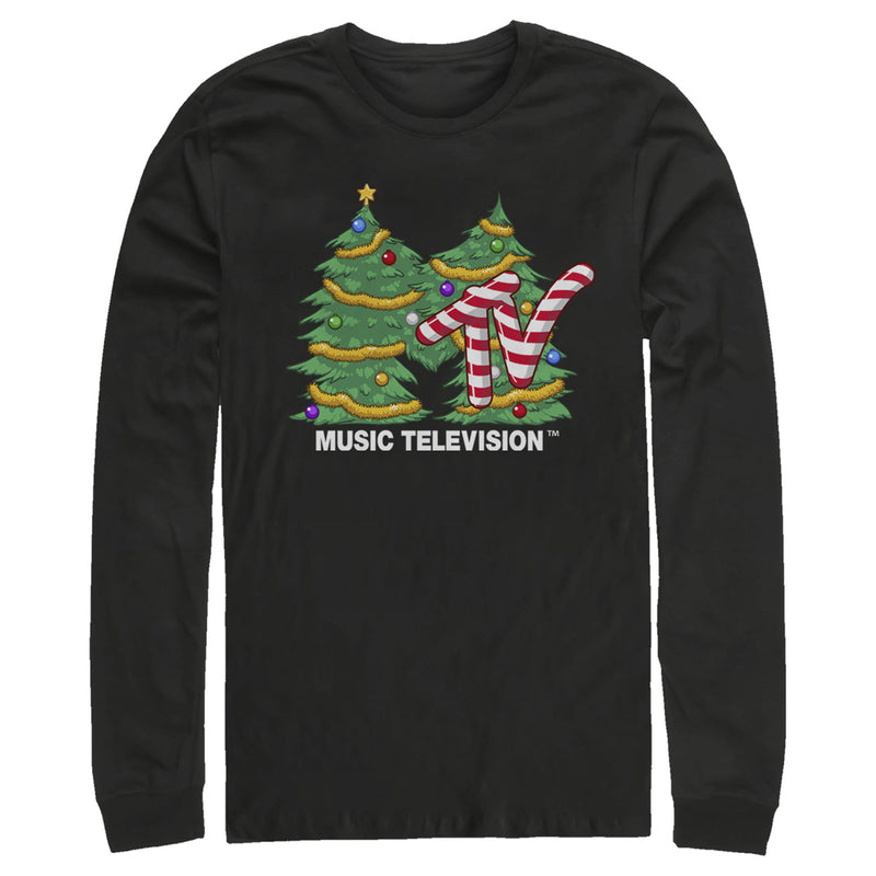 MTV Men's Christmas Tree Logo  Long Sleeve Shirt