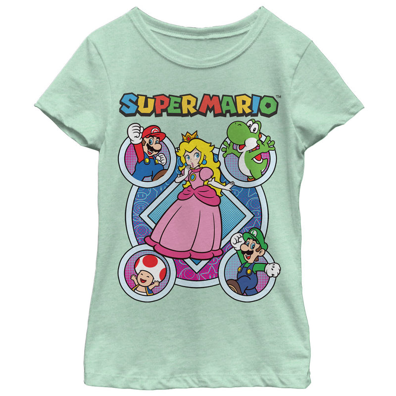 Nintendo Girl's Super Mario Princess Peach Friends  T-Shirt  Mint  L
