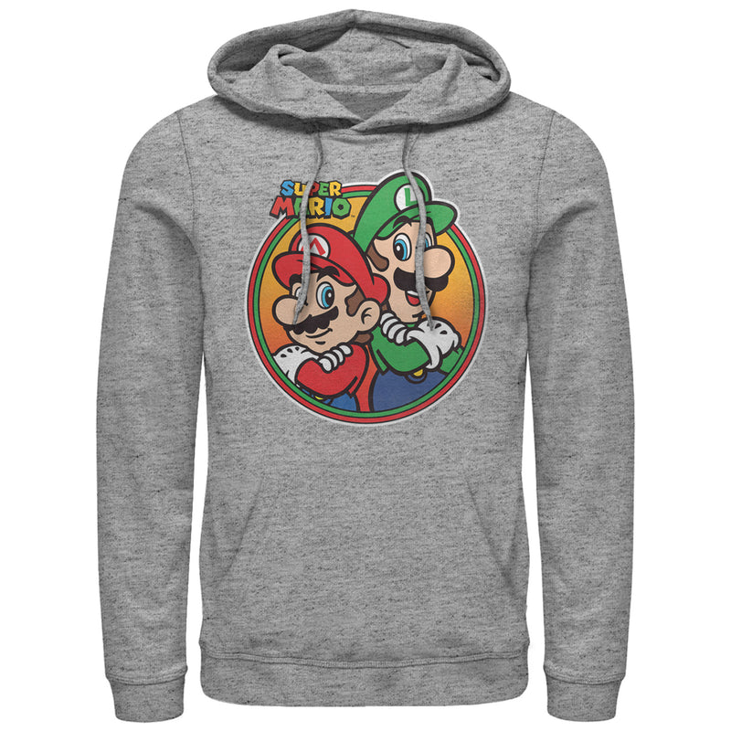 Nintendo Men's Mario Luigi Back to Back  Pull Over Hoodie  Athletic Heather  M