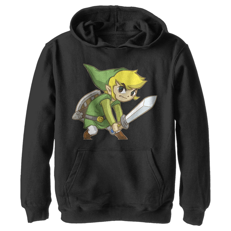 Nintendo Boy's Legend of Zelda Spirit Tracks Link  Pull Over Hoodie  Black  L