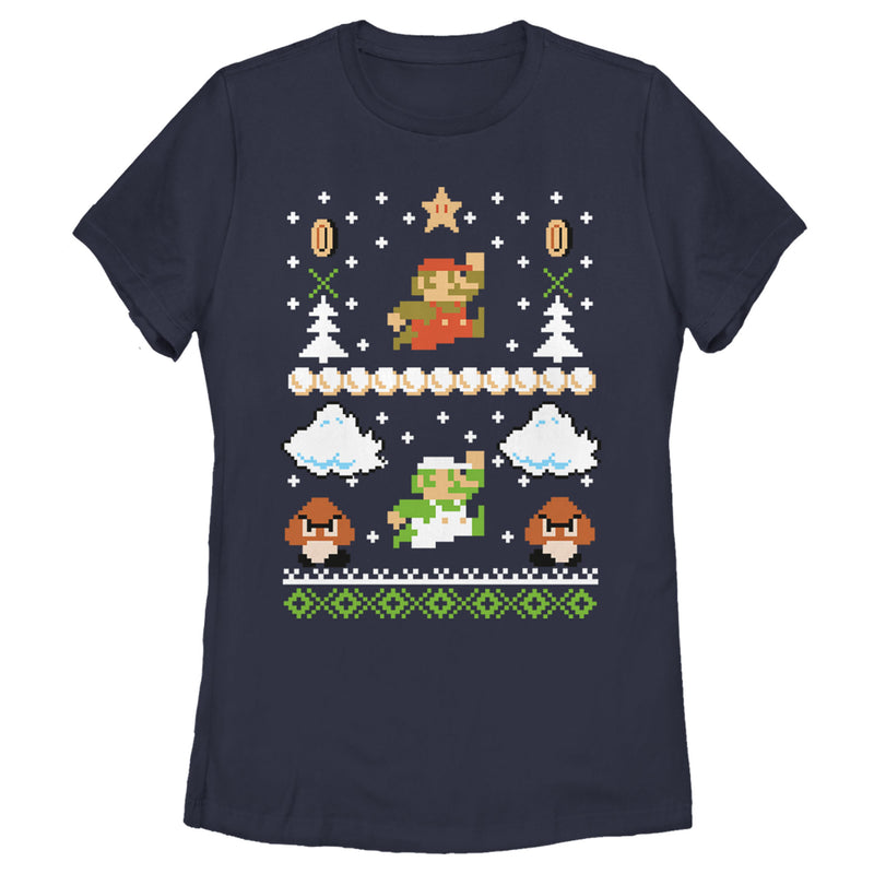 Nintendo Super Mario Ugly Christmas Style Womens Graphic T Shirt