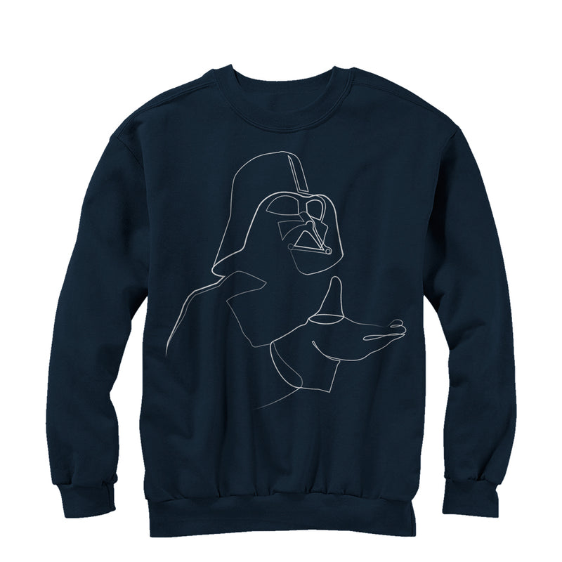 Star Wars Men's Darth Vader Outline  Sweatshirt  Navy Blue  L