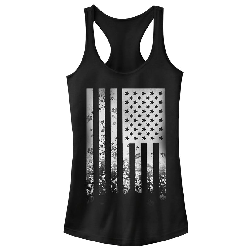 Lost Gods 4th of July Flower Flag Juniors Graphic Racerback Tank