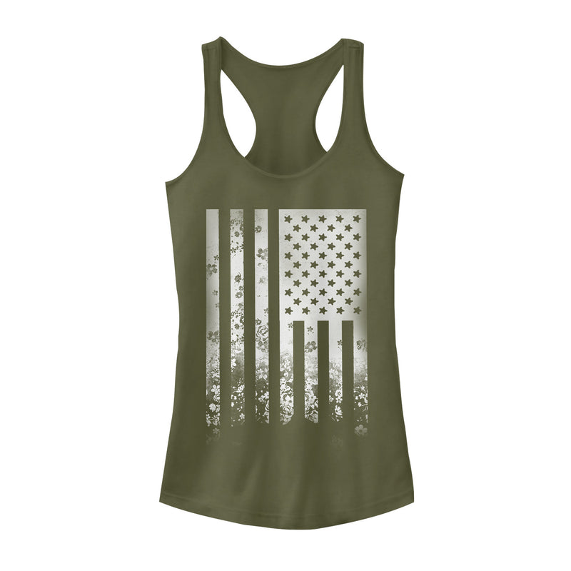 Lost Gods Junior's Fourth of July  Flower Flag  Racerback Tank Top  Military Green  S