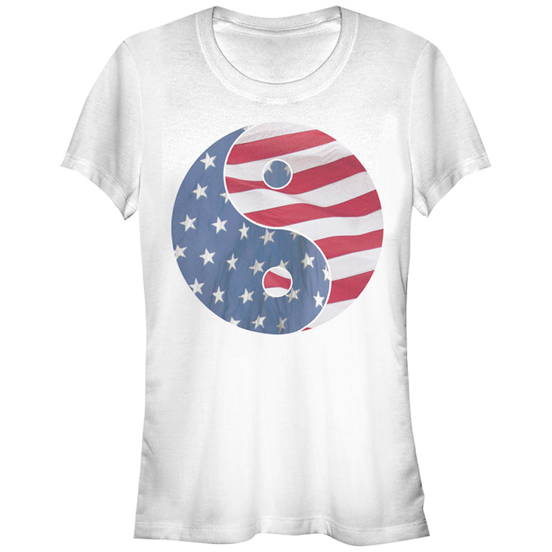 Lost Gods Junior's American Flag Yin Yang  T-Shirt  White  M