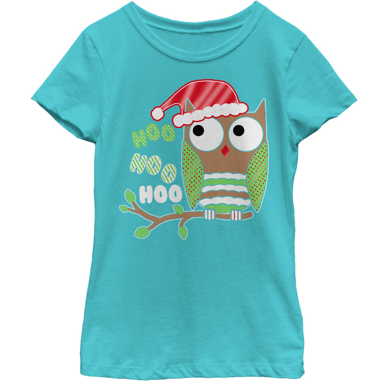 Lost Gods Girl's Christmas Owl Hoo  T-Shirt  Tahiti Blue  M