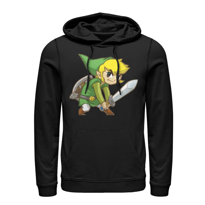 Nintendo Men's Legend of Zelda Spirit Tracks Link  Pull Over Hoodie  Black