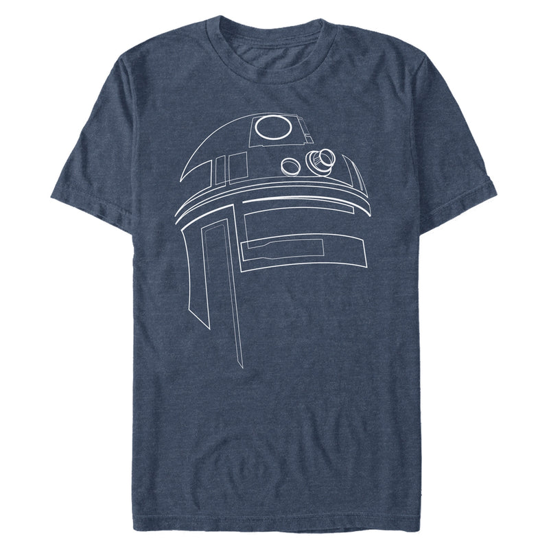 Star Wars Men's R2-D2 Outline  T-Shirt  Navy Heather  M