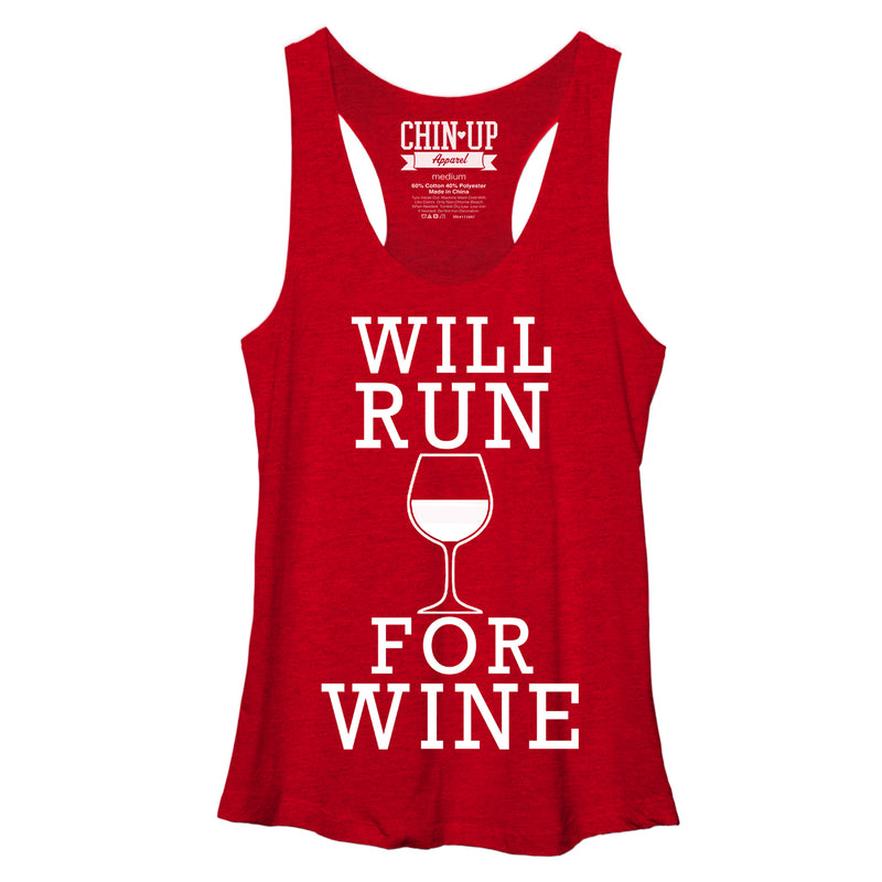 CHIN UP Women's Will Run For Wine  Racerback Tank Top  Red Heather