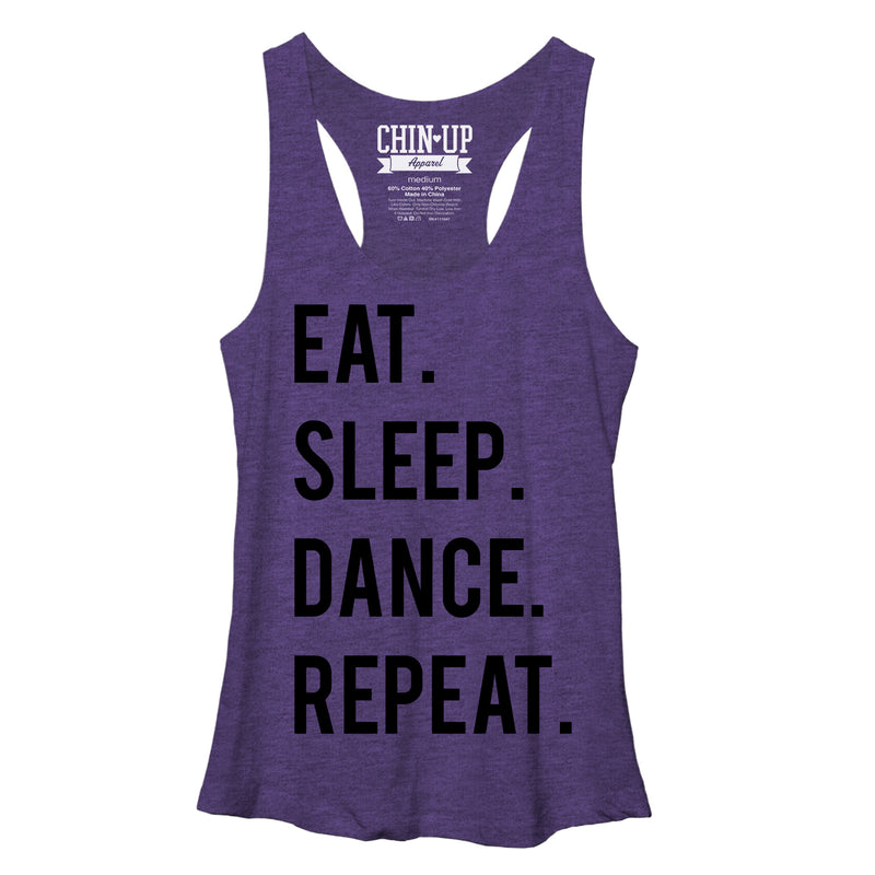 CHIN UP Women's Eat Sleep Dance Repeat  Racerback Tank Top  Purple Heather  M