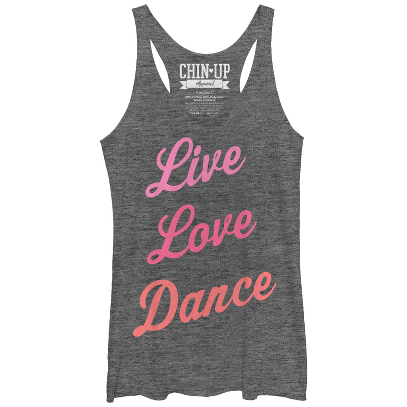 CHIN UP Women's Live Love Dance  Racerback Tank Top  Gray Heather  M