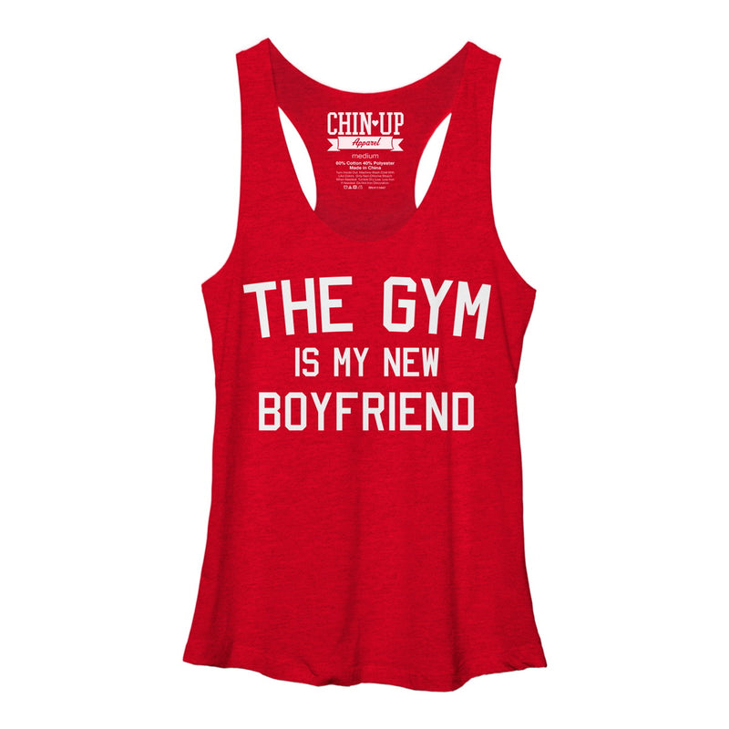 CHIN UP Women's The Gym is my New Boyfriend  Racerback Tank Top  Red Heather  XL