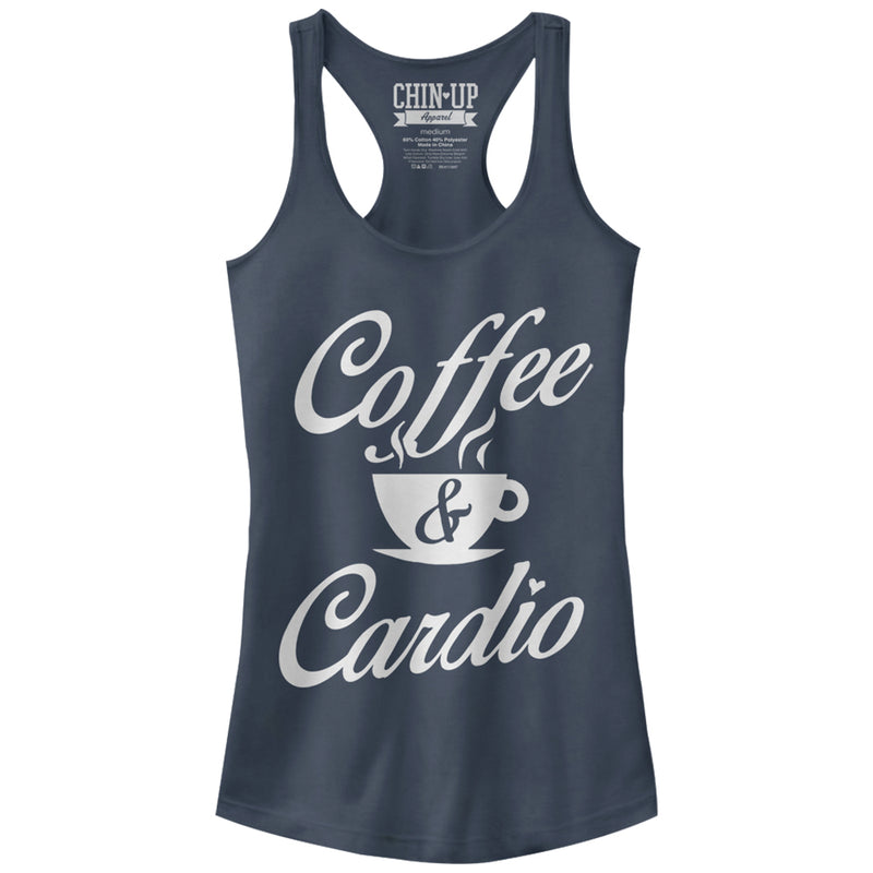 CHIN UP Junior's Coffee and Cardio  Racerback Tank Top  Indigo  M