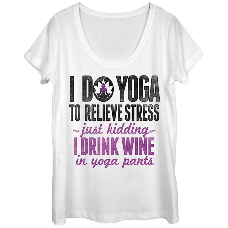 CHIN UP Women's Drink Wine in Yoga Pants  Scoop Neck  White  L