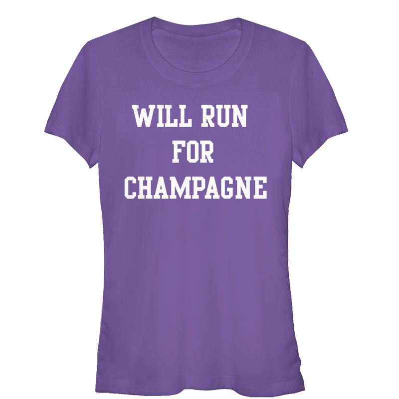 CHIN UP Junior's Will Run For Champagne  T-Shirt  Purple  L