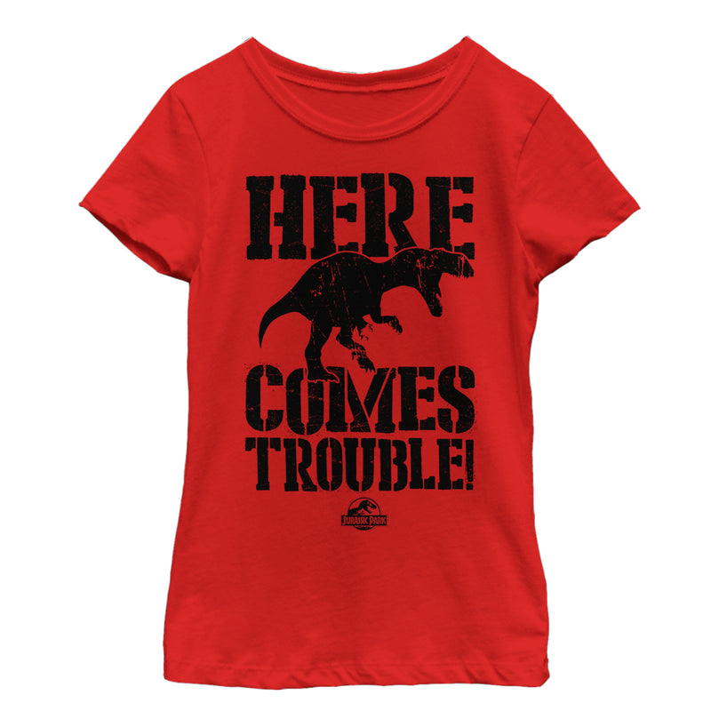 Jurassic Park Here Comes Trouble Girls Graphic T Shirt