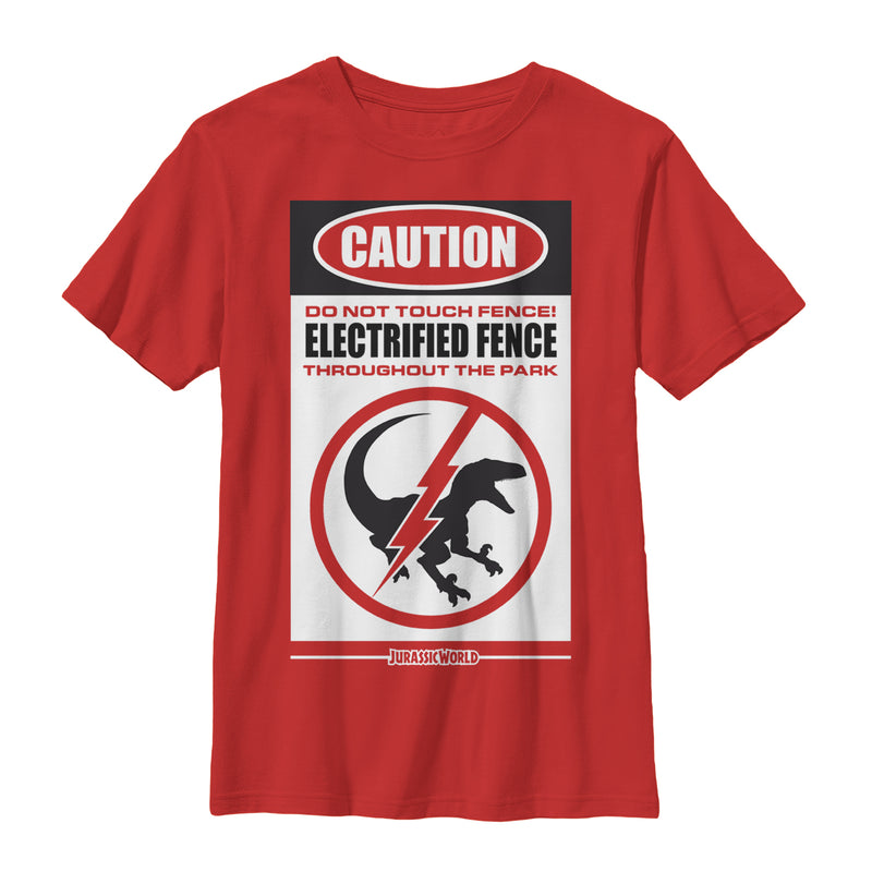 Jurassic World Boy's Warning Electrified Fence  T-Shirt  Red  L