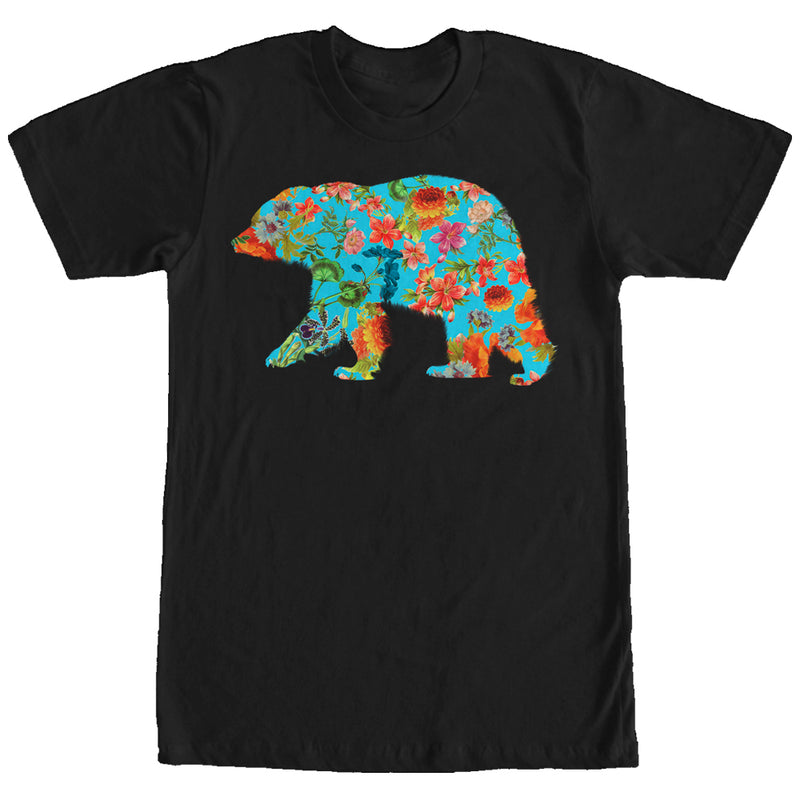Lost Gods Flower Print Bear Mens Graphic T Shirt