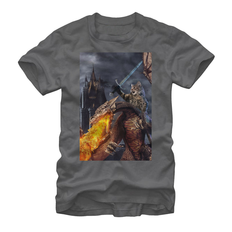 Lost Gods Men's Kitty Knight in Camelot  T-Shirt  Charcoal