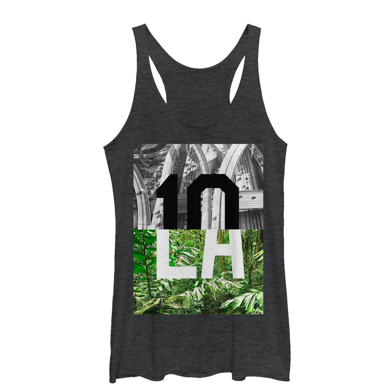 Lost Gods Women's LA Contrast  Racerback Tank Top  Black Heather  M