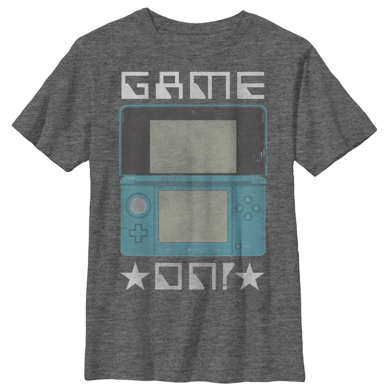Nintendo Boy's 3DS Game On  T Shirt Charcoal Heather M